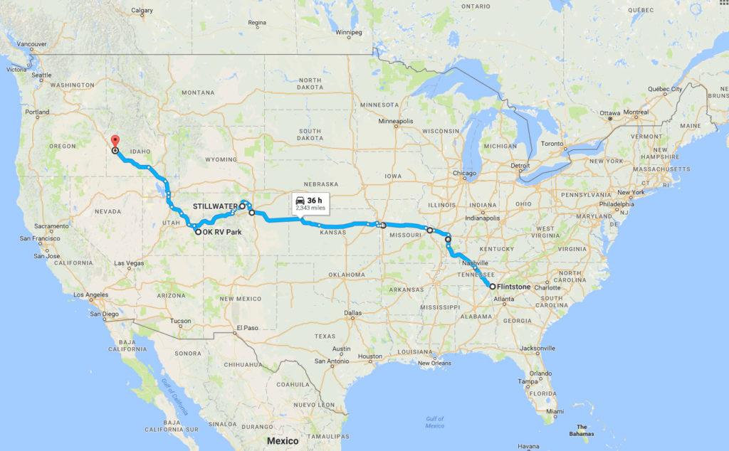 Trip Map Flintstone to Boise